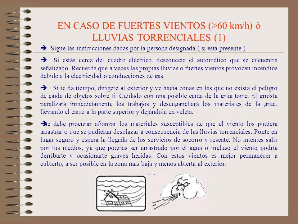 EN CASO DE FUERTES VIENTOS (>60 km/h) ó LLUVIAS TORRENCIALES (1)