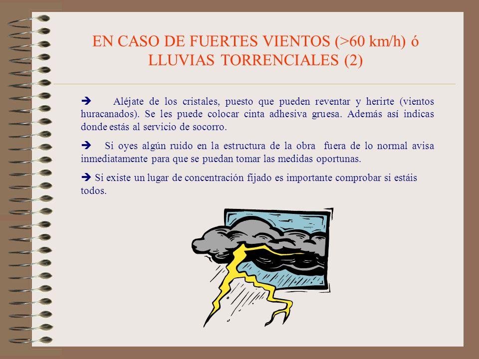 EN CASO DE FUERTES VIENTOS (>60 km/h) ó LLUVIAS TORRENCIALES (2)