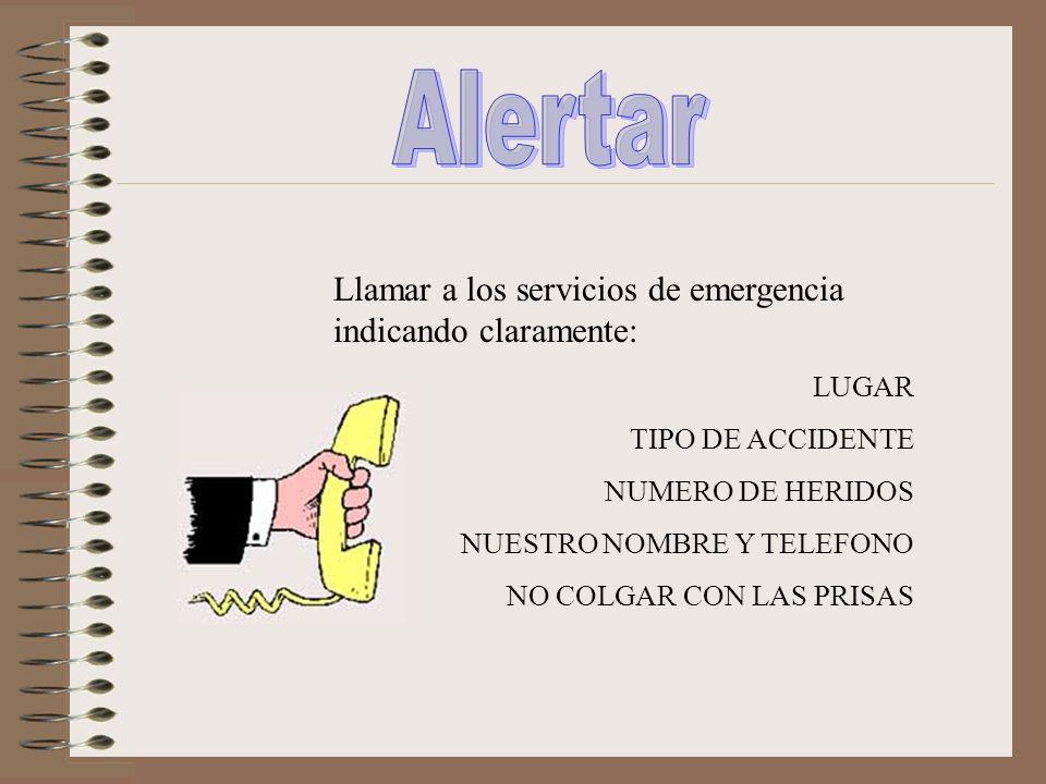 Alertar Llamar a los servicios de emergencia indicando claramente: