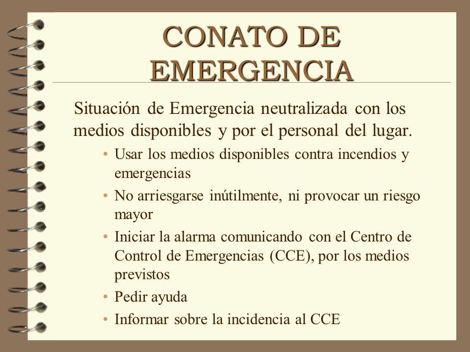 CONATO DE EMERGENCIA Situación de Emergencia neutralizada con los medios disponibles y por el personal del lugar.