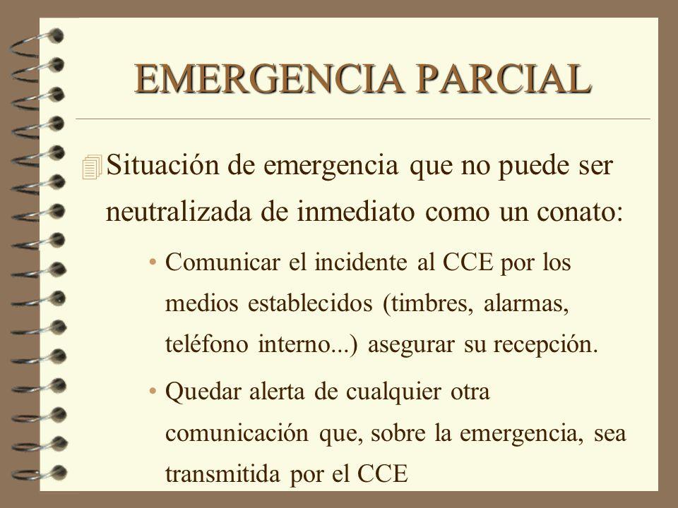 EMERGENCIA PARCIAL Situación de emergencia que no puede ser neutralizada de inmediato como un conato: