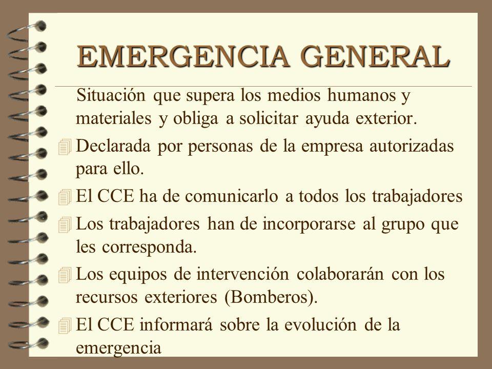 EMERGENCIA GENERAL Situación que supera los medios humanos y materiales y obliga a solicitar ayuda exterior.