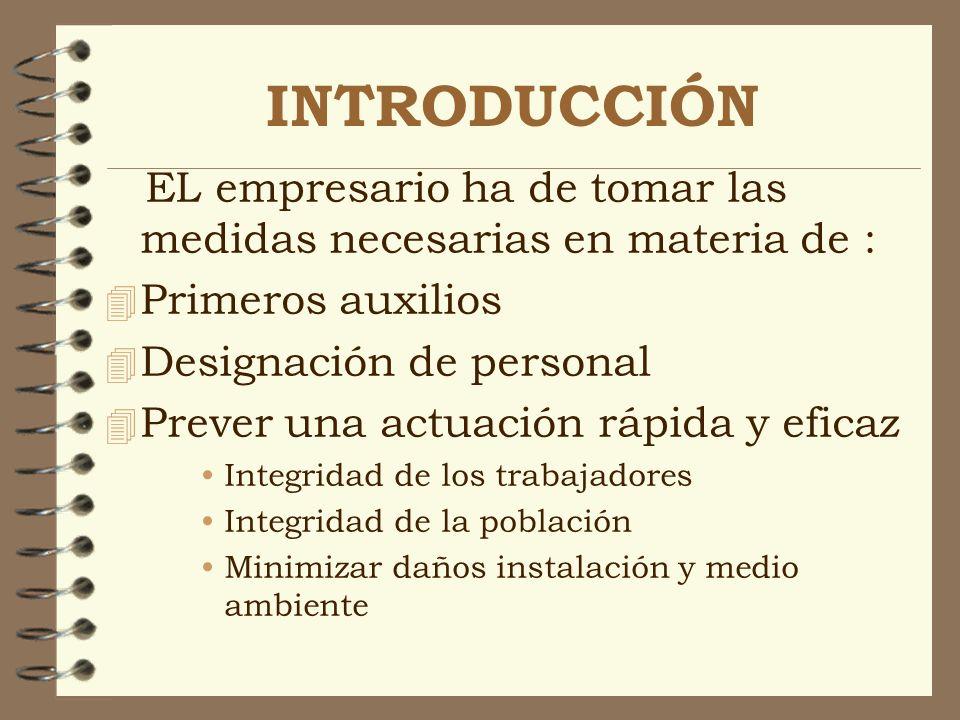 INTRODUCCIÓN EL empresario ha de tomar las medidas necesarias en materia de : Primeros auxilios. Designación de personal.