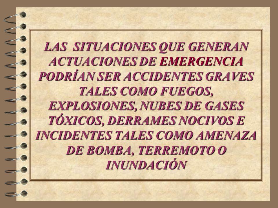 LAS SITUACIONES QUE GENERAN ACTUACIONES DE EMERGENCIA PODRÍAN SER ACCIDENTES GRAVES TALES COMO FUEGOS, EXPLOSIONES, NUBES DE GASES TÓXICOS, DERRAMES NOCIVOS E INCIDENTES TALES COMO AMENAZA DE BOMBA, TERREMOTO O INUNDACIÓN