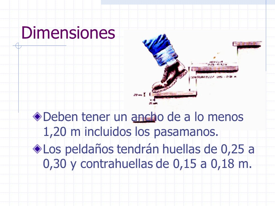 Dimensiones Deben tener un ancho de a lo menos 1,20 m incluidos los pasamanos.