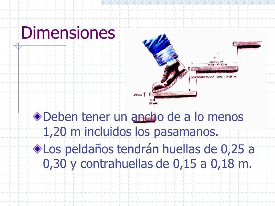DimensionesDeben tener un ancho de a lo menos 1,20 m incluidos los pasamanos.