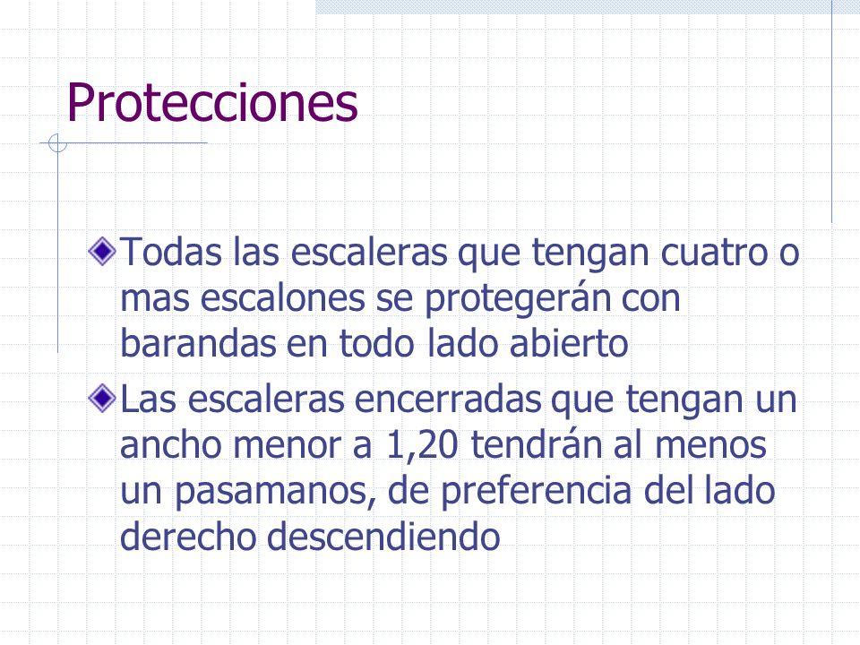 ProteccionesTodas las escaleras que tengan cuatro o mas escalones se protegerán con barandas en todo lado abierto.