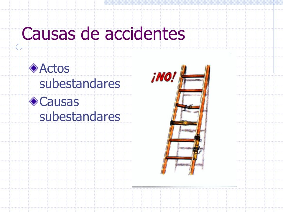 Causas de accidentes Actos subestandares Causas subestandares