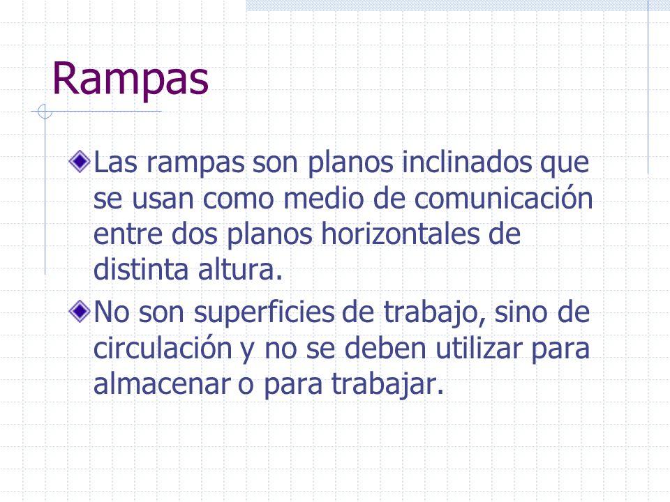 Rampas Las rampas son planos inclinados que se usan como medio de comunicación entre dos planos horizontales de distinta altura.