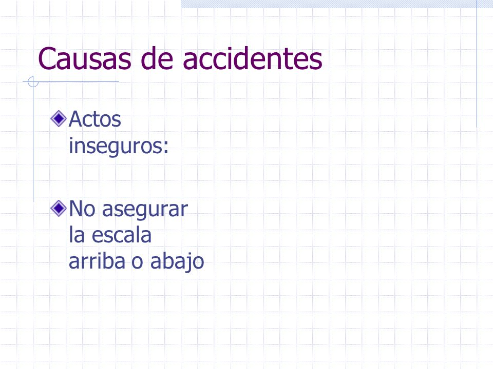 Causas de accidentes Actos inseguros:
