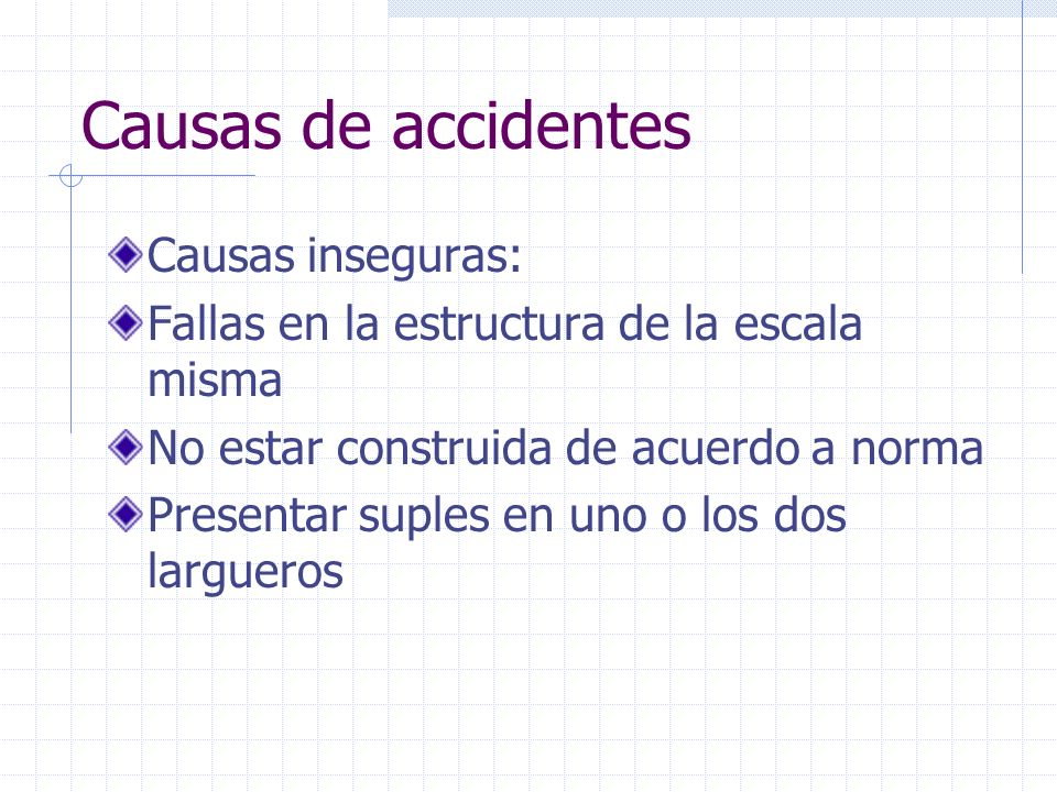 Causas de accidentes Causas inseguras: