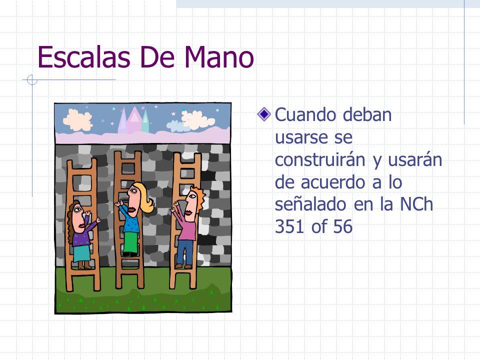 Escalas De Mano Cuando deban usarse se construirán y usarán de acuerdo a lo señalado en la NCh 351 of 56.