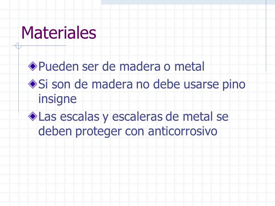 Materiales Pueden ser de madera o metal