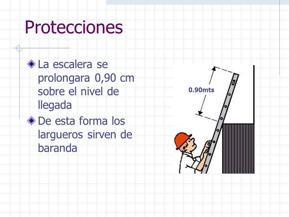 ProteccionesLa escalera se prolongara 0,90 cm sobre el nivel de llegada. De esta forma los largueros sirven de baranda.