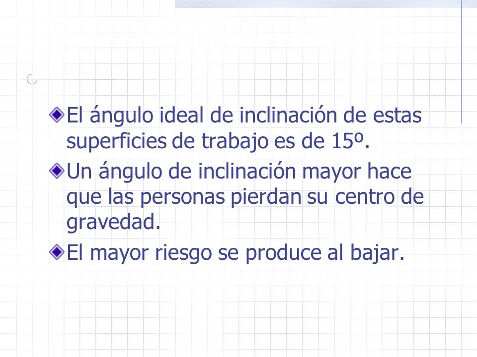 El ángulo ideal de inclinación de estas superficies de trabajo es de 15º.