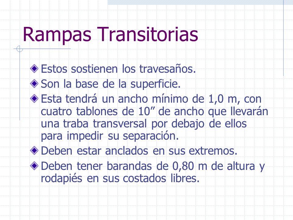 Rampas Transitorias Estos sostienen los travesaños.