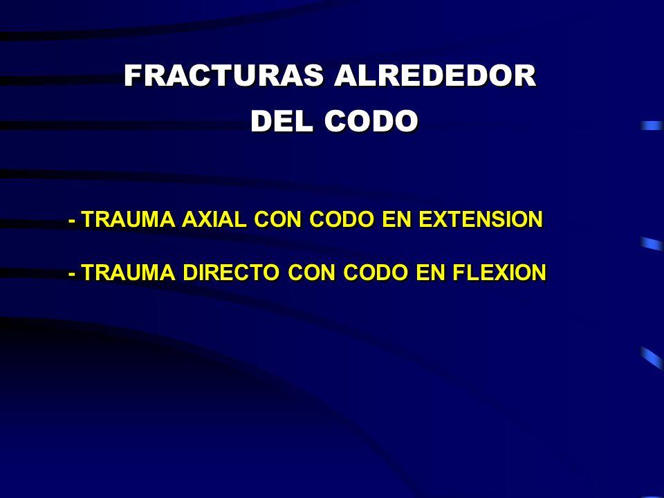 FRACTURAS ALREDEDOR DEL CODO - TRAUMA AXIAL CON CODO EN EXTENSION