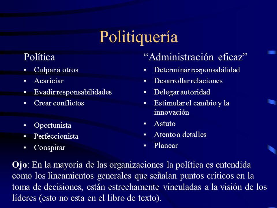 Politiquería Política Administración eficaz