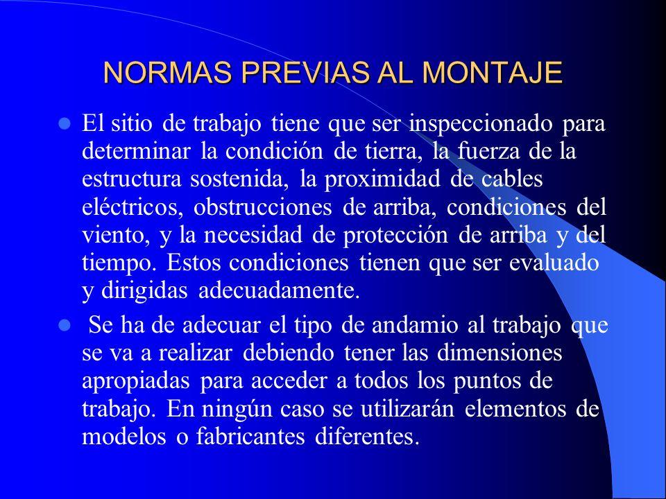 NORMAS PREVIAS AL MONTAJE