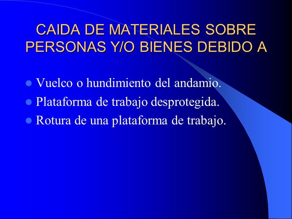 CAIDA DE MATERIALES SOBRE PERSONAS Y/O BIENES DEBIDO A