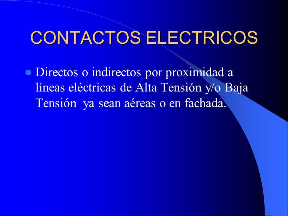 CONTACTOS ELECTRICOSDirectos o indirectos por proximidad a líneas eléctricas de Alta Tensión y/o Baja Tensión ya sean aéreas o en fachada.