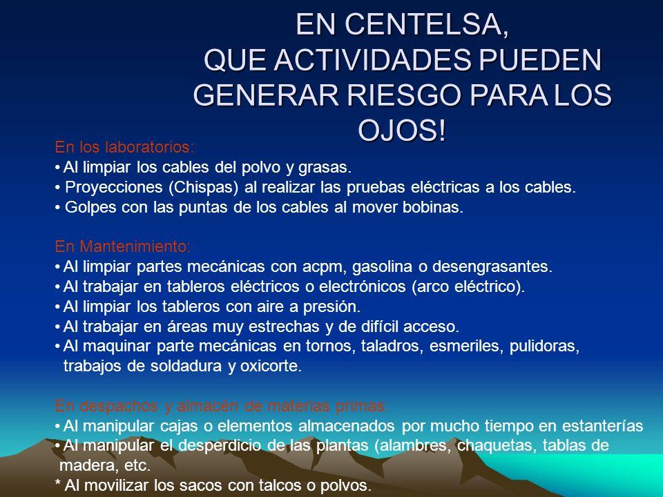 EN CENTELSA, QUE ACTIVIDADES PUEDEN GENERAR RIESGO PARA LOS OJOS!
