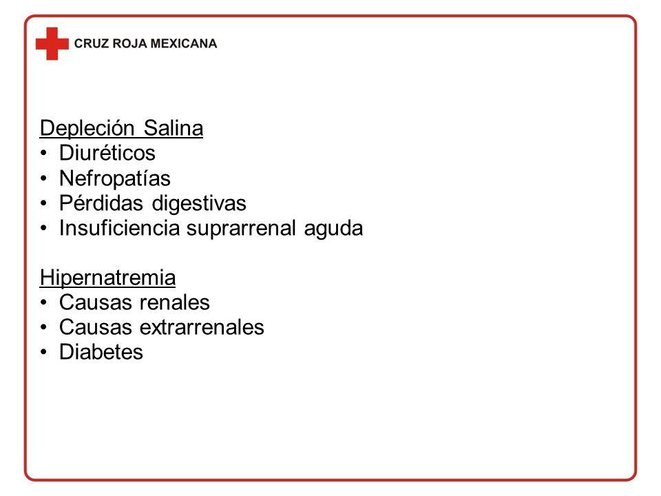 Depleción Salina Diuréticos. Nefropatías. Pérdidas digestivas. Insuficiencia suprarrenal aguda. Hipernatremia.