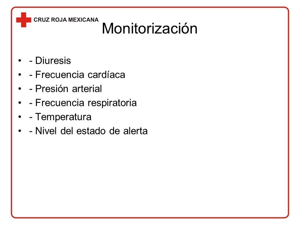 Monitorización - Diuresis - Frecuencia cardíaca - Presión arterial