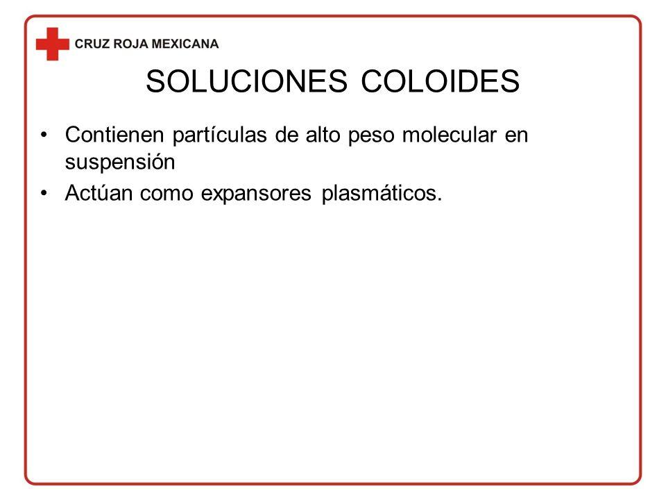 SOLUCIONES COLOIDES Contienen partículas de alto peso molecular en suspensión.