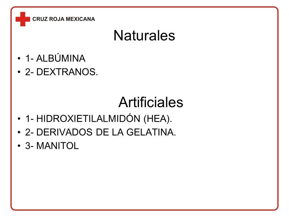 Naturales 1- ALBÚMINA 2- DEXTRANOS. Artificiales