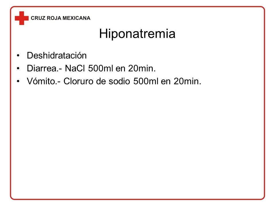 Hiponatremia Deshidratación Diarrea.- NaCl 500ml en 20min.