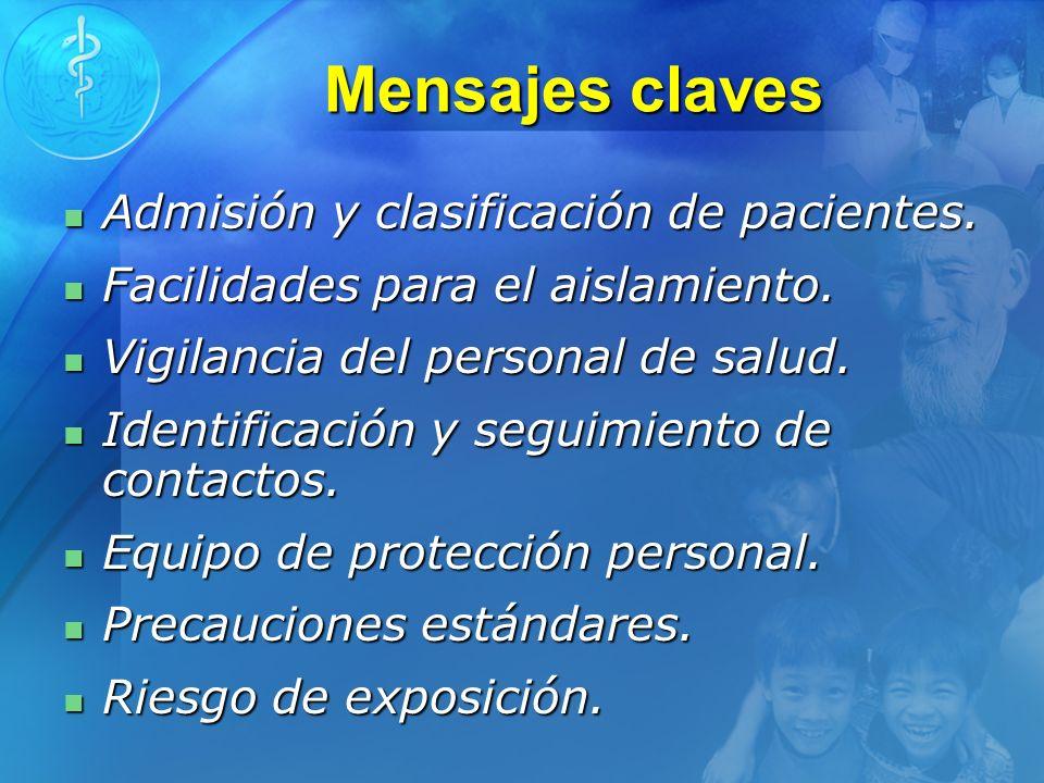 Mensajes claves Admisión y clasificación de pacientes.
