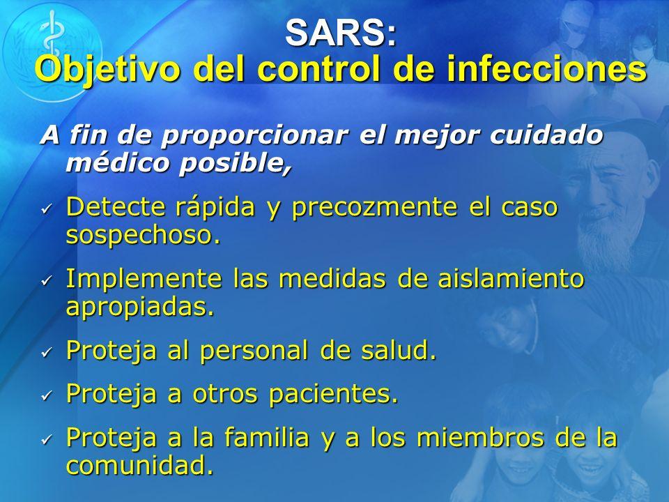 SARS: Objetivo del control de infecciones