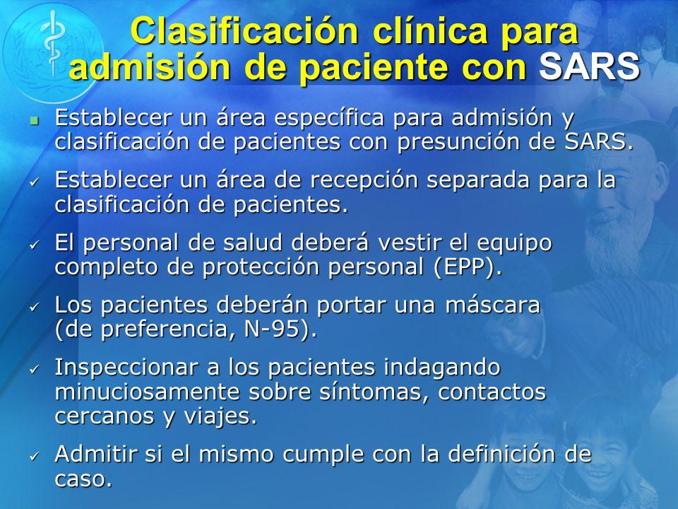 Clasificación clínica para admisión de paciente con SARS
