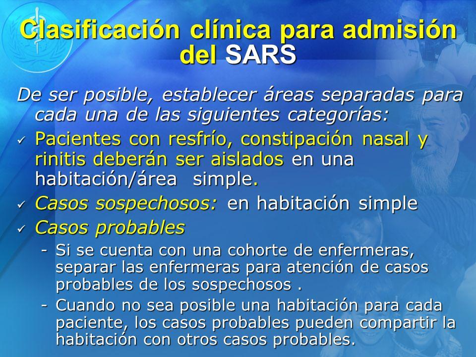 Clasificación clínica para admisión del SARS
