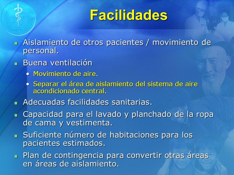 Facilidades Aislamiento de otros pacientes / movimiento de personal.