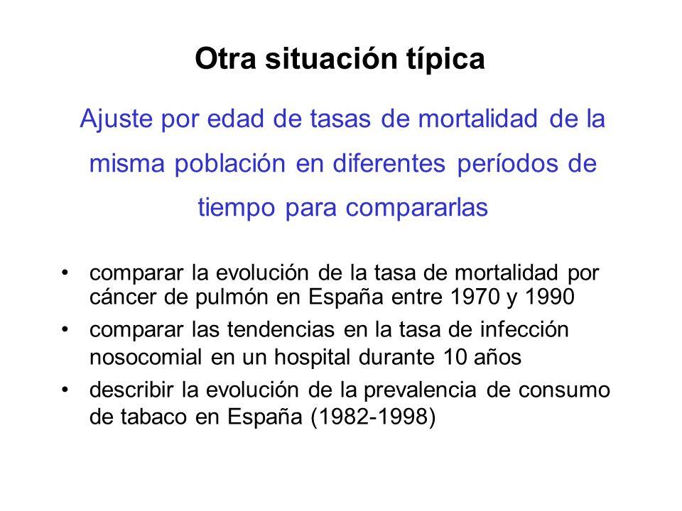 Otra situación típica Ajuste por edad de tasas de mortalidad de la misma población en diferentes períodos de tiempo para compararlas.