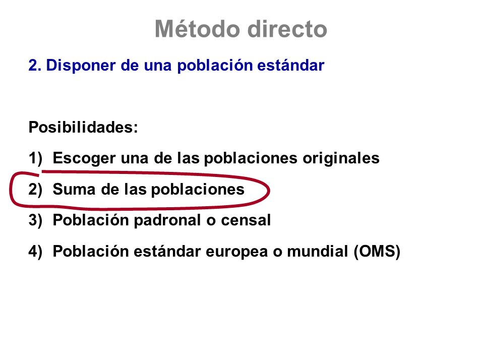 Método directo 2. Disponer de una población estándar Posibilidades: