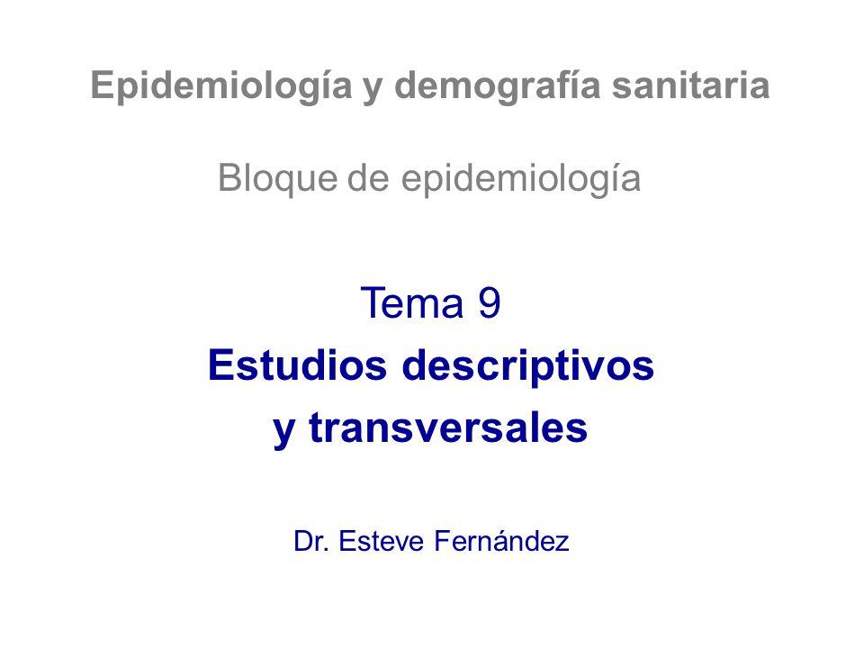 Epidemiología y demografía sanitaria Estudios descriptivos