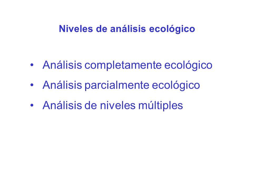 Análisis completamente ecológico Análisis parcialmente ecológico