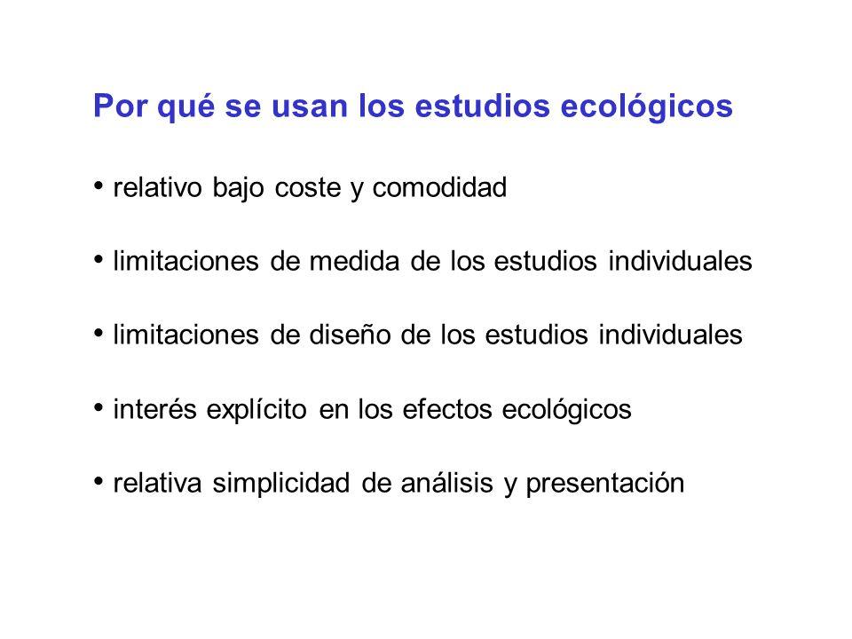 Por qué se usan los estudios ecológicos