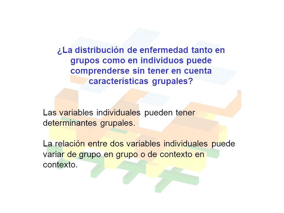 ¿La distribución de enfermedad tanto en grupos como en individuos puede comprenderse sin tener en cuenta características grupales