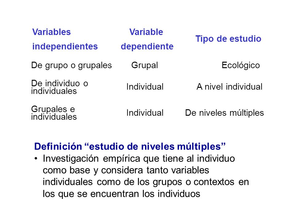 Definición estudio de niveles múltiples