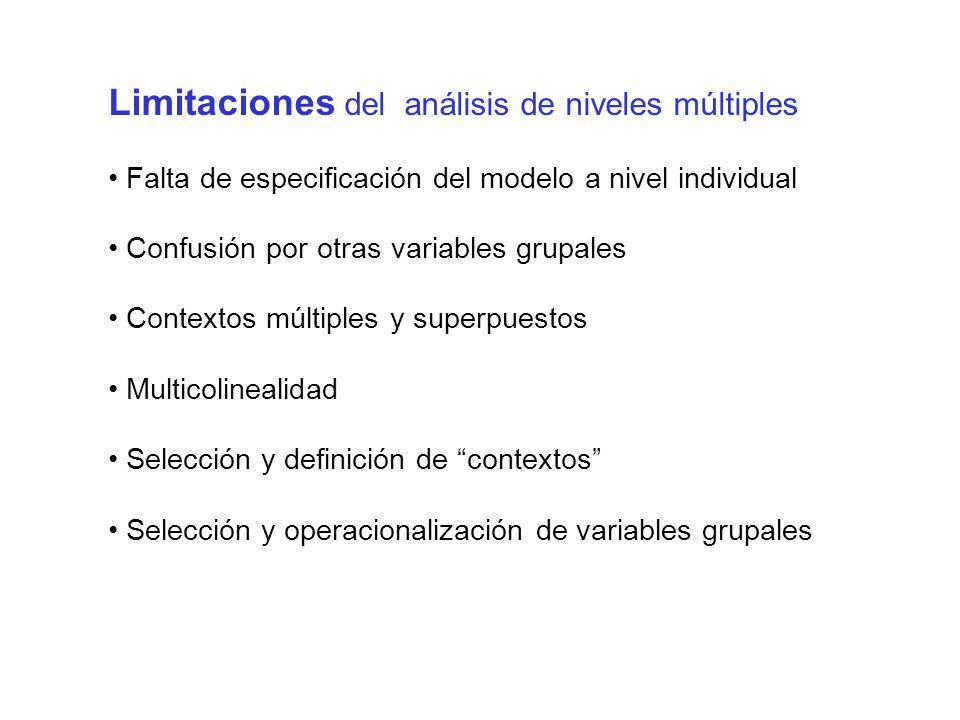 Limitaciones del análisis de niveles múltiples