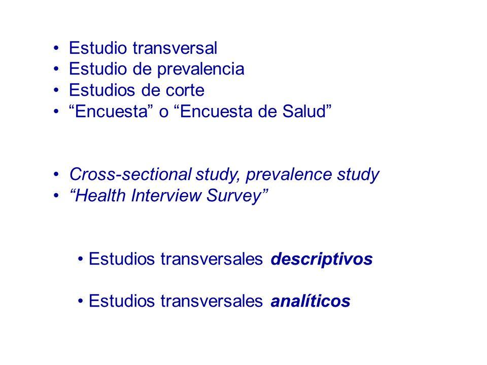 Estudio transversal Estudio de prevalencia. Estudios de corte. Encuesta o Encuesta de Salud Cross-sectional study, prevalence study.