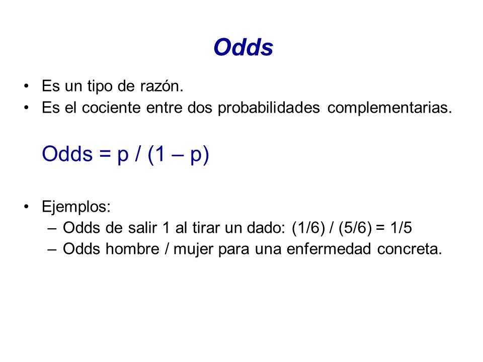 Odds Odds = p / (1 – p) Es un tipo de razón.