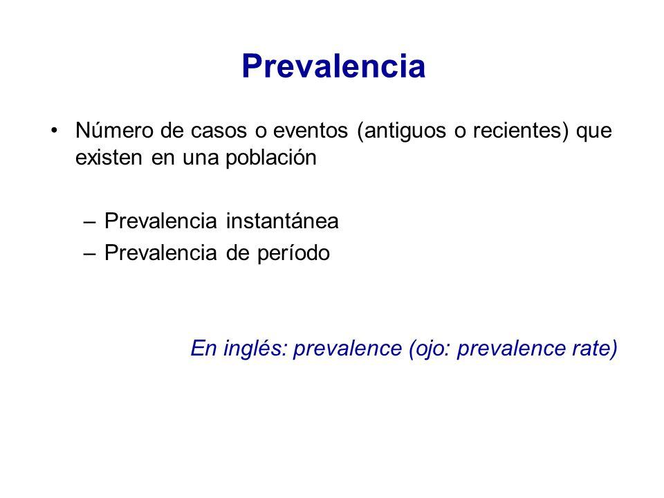 Prevalencia Número de casos o eventos (antiguos o recientes) que existen en una población. Prevalencia instantánea.