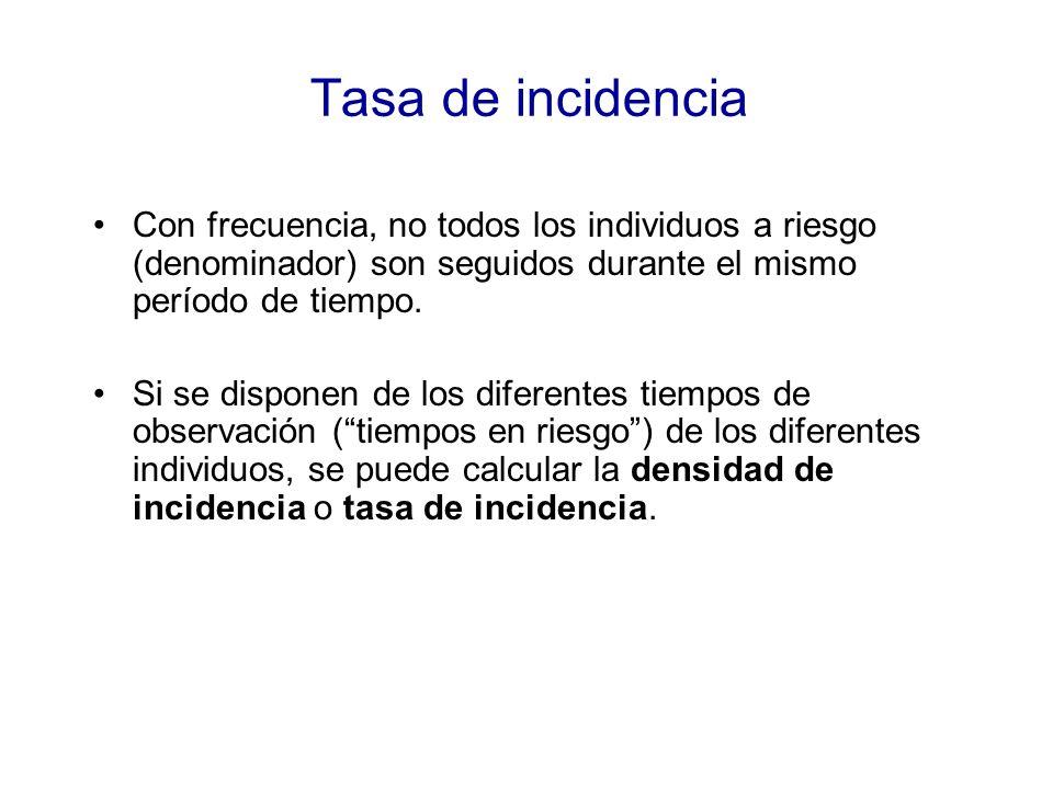 Tasa de incidenciaCon frecuencia, no todos los individuos a riesgo (denominador) son seguidos durante el mismo período de tiempo.
