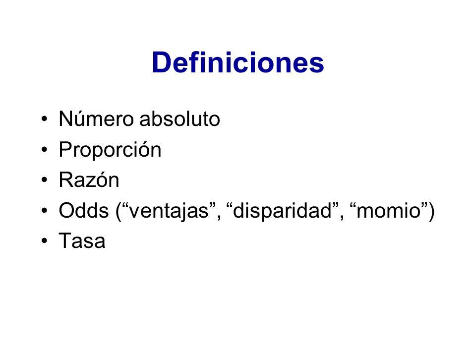 Definiciones Número absoluto Proporción Razón