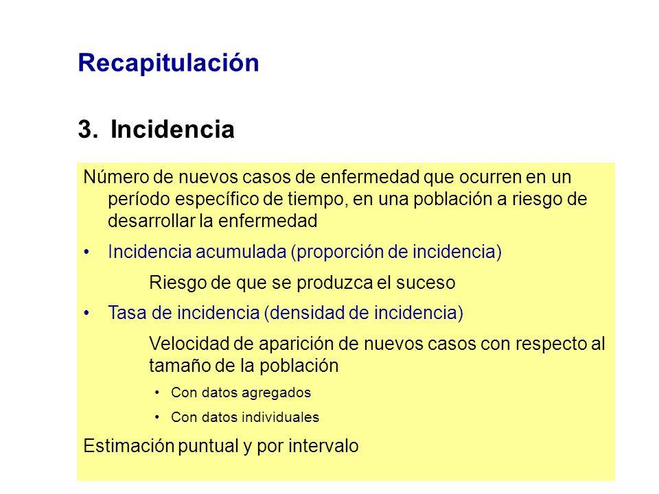 Recapitulación 3. Incidencia